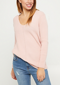 Pink Soft Rib Knit V Neck Sweater