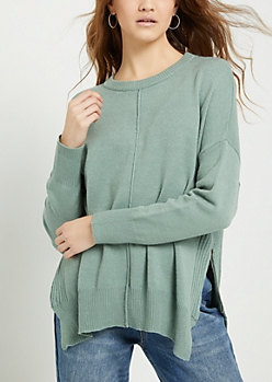 Light Green Side Zip Sweater