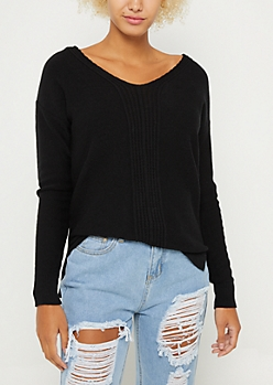 Black Ribbed Front Keyhole Sweater