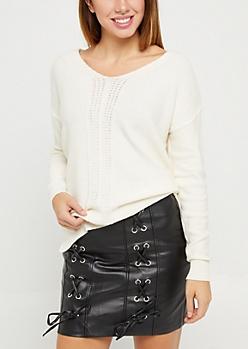 Ivory Ribbed Front Keyhole Sweater