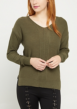 Olive Ribbed Front Keyhole Sweater