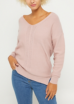 Pink Ribbed Front Keyhole Sweater