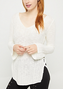 Ivory Lace Up Seam Sweater