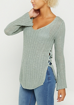 Light Green Lace Up Seam Sweater