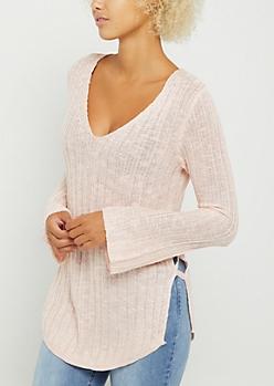 Pink Lace Up Seam Sweater