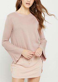 Pink Rib Knit Bell Sleeve Sweater