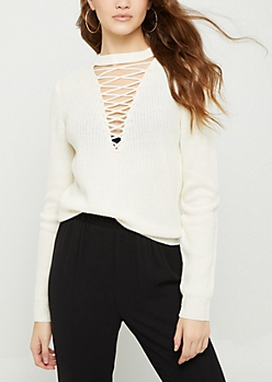 Ivory Lattice Choker Sweater