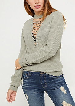 Light Green Lattice Choker Sweater