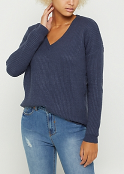 Blue Knit V Neck Sweater