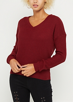 Burnt Orange Knit V Neck Sweater