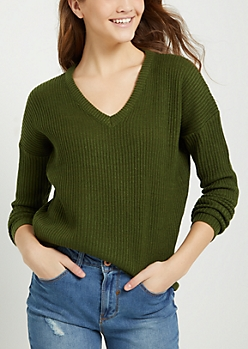 Olive Knit V Neck Sweater