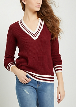 Burgundy Waffle Knit Tennis Sweater
