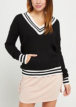 Black Waffle Knit Tennis Sweater