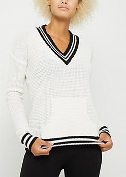 White Waffle Knit Tennis Sweater