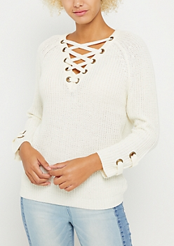 Ivory Lace Up Grommet Sweater
