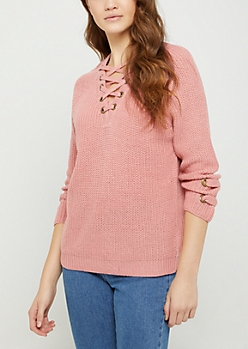 Pink Lace Up Grommet Sweater