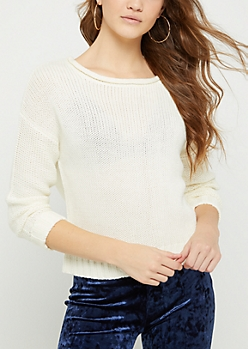 Ivory Zip Back Sweater