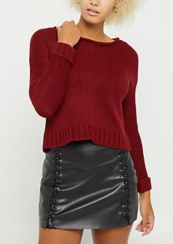 Burgundy Zip Back Sweater