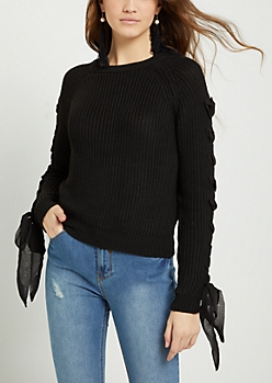 Laced Sleeve Rib Knit Sweater