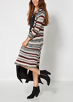Multi Striped Knit Duster