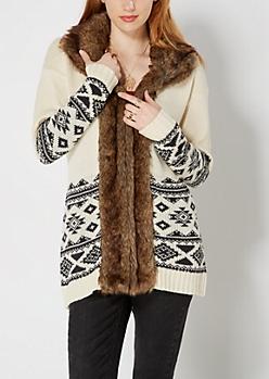 Ivory Faux Fur Collar Longline Cardi