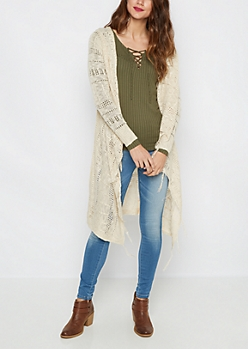 Cream Pointelle Knit Fringed Cardigan