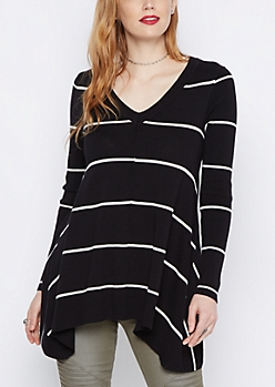 Black V-Neck Striped Sharkbite Sweater