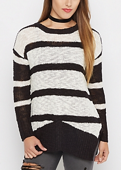 Black Striped Tunic Sweater