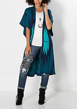 Blue Geo Striped Knit Wrap