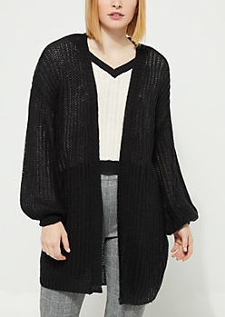 Black Boucle Knit Slouchy Cardigan