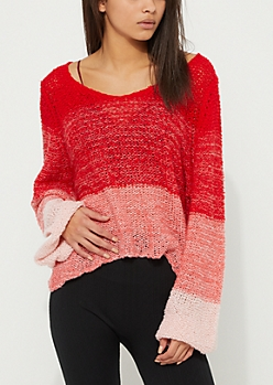 Red Ombre Boucle Sweater