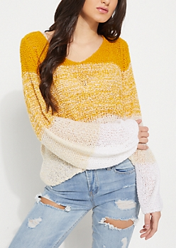 Yellow Ombre Boucle Sweater