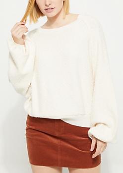 Ivory Marled Knit Sweatshirt