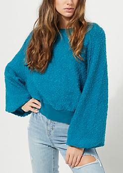 Teal Marled Knit Sweatshirt