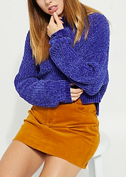 Royal Blue Chenille Crop Sweater