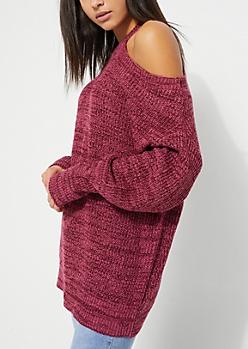 Burgundy Shoulder Cutout Tunic