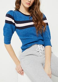Blue Striped Soft Knit Sweater