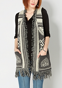 Gray Fringed Boho Vest