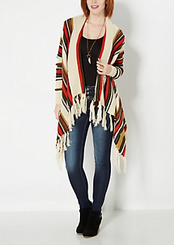 Cascading Fringed Knit Wrap