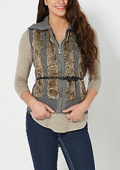 Gray Faux Fur Cable Knit Vest