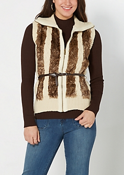 Ivory Faux Fur Cable Knit Vest