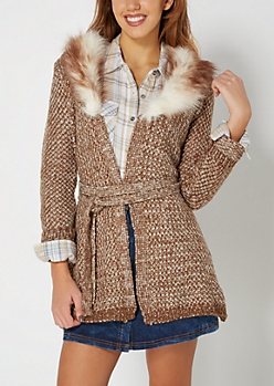 Brown Furry Collar Diamond Knit Duster