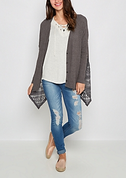 Gray Lace Inset Cardigan