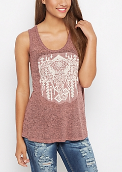 Pink Marled Elephant Split Back Tank Top