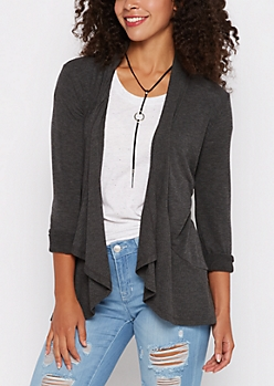 Charcoal Ribbed Hem Open-Front Cardigan