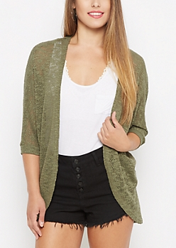 Olive Open Knit Cocoon Wrap