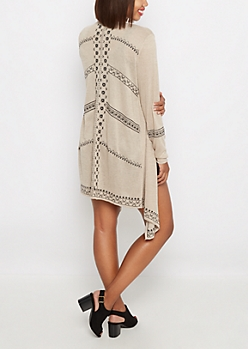 Taupe Embroidered Cascading Wrap