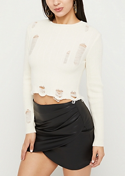 Ivory Ripped Crop Sweater