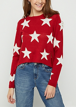 Starry Distressed Crop Sweater