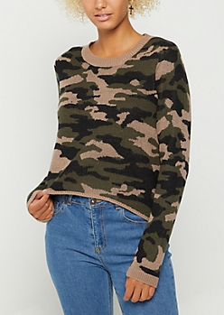 Camo Distressed Crop Sweater